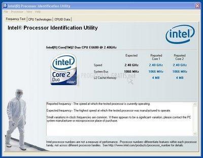 Pantallazo Intel Processor Identification Utility