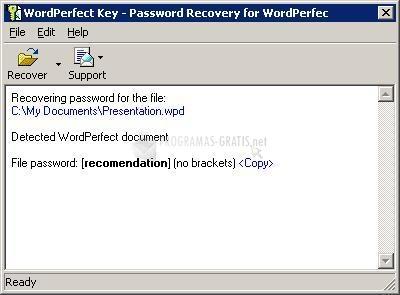 Pantallazo WordPerfect Key