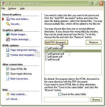 Pantallazo Intra PDF to HTML Converter