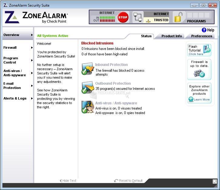 Pantallazo ZoneAlarm Internet Security Vista (English)