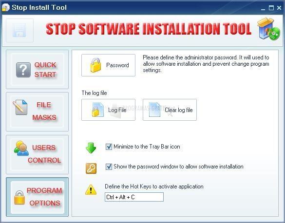 Pantallazo Stop Software Installation Tool