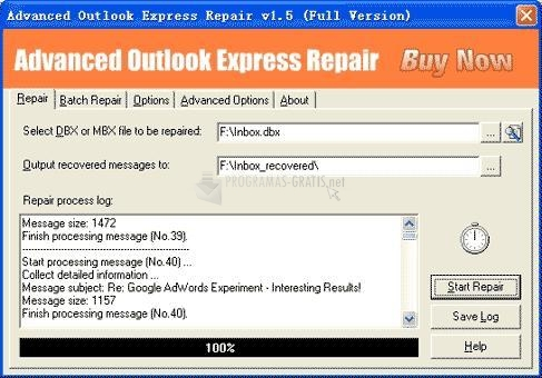 Pantallazo Advanced Outlook Express Repair