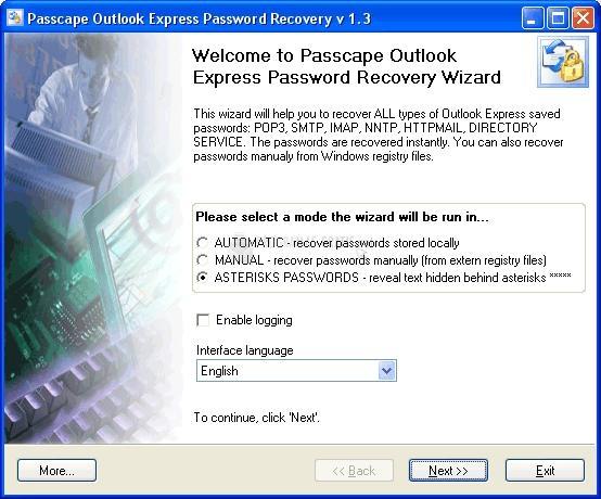 Pantallazo Passcape O. Express Password Recovery