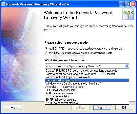 Pantallazo Network Password Recovery Wizard