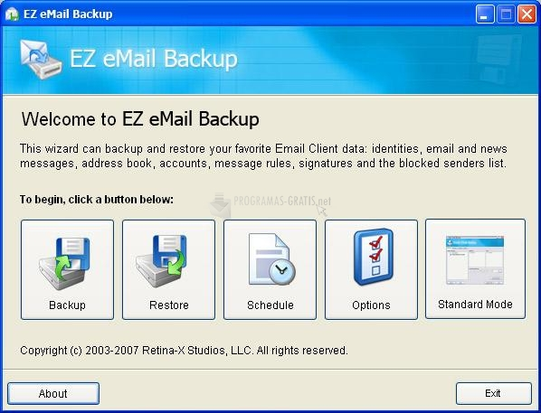 Pantallazo EZ eMail Backup