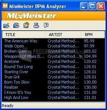 Pantallazo MixMeister BPM Analyzer