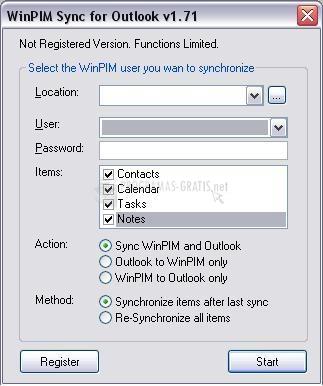 Pantallazo WinPIM Sync for Outlook