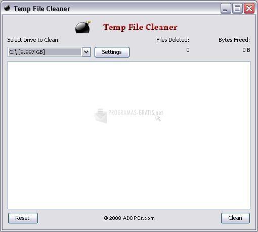 Pantallazo Temp File Cleaner