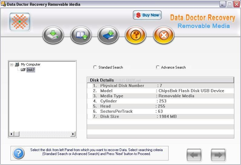 Pantallazo Removable Media Data Recovery Soft