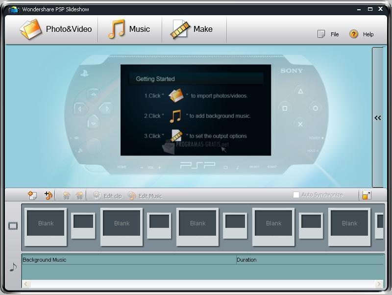 Pantallazo Wondershare PSP Slideshow