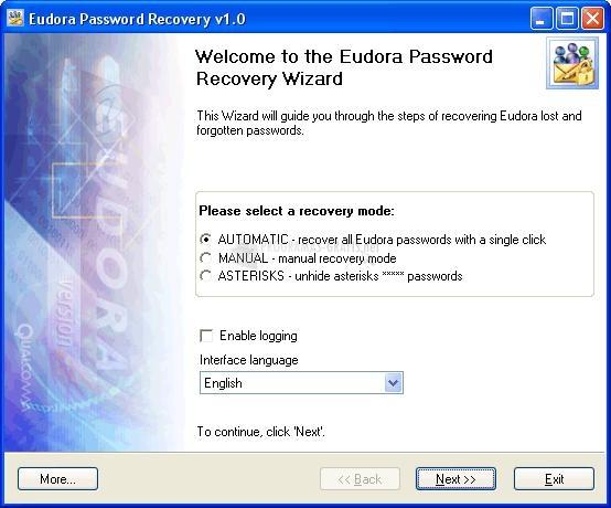 Pantallazo Eudora Password Recovery