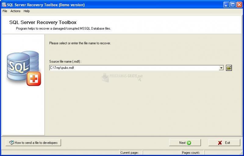 Pantallazo SQL Server Recovery Tool