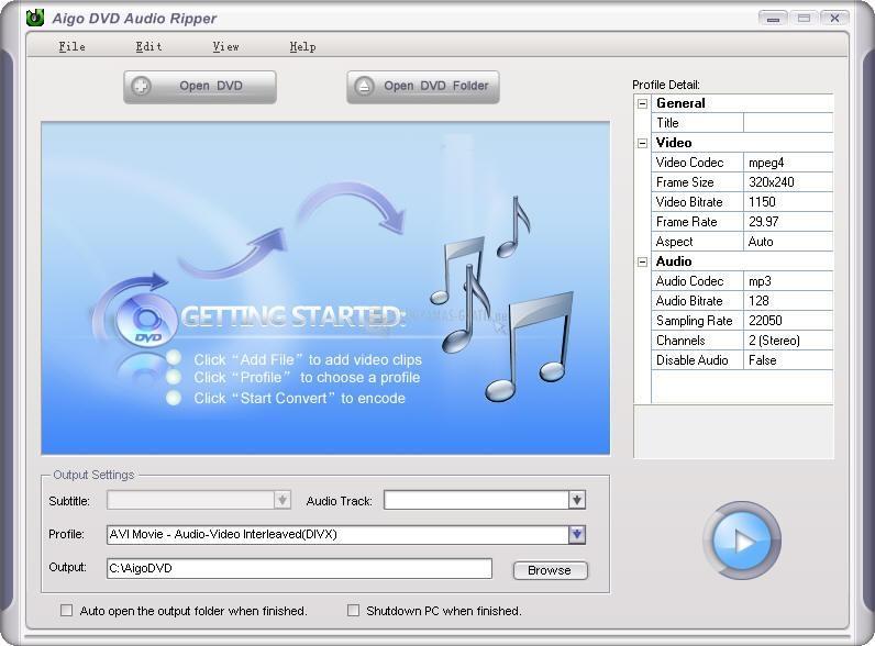 Pantallazo Aigo DVD Audio Ripper