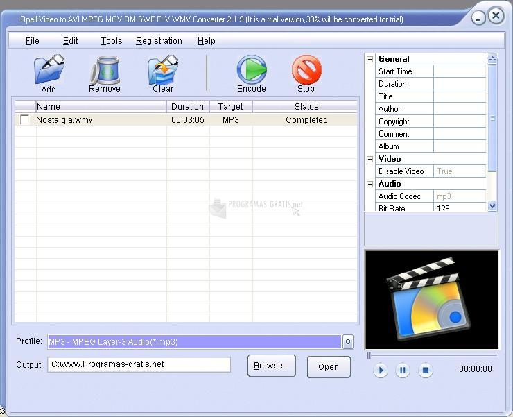 Pantallazo Opell Video to AVI MPEG Converter