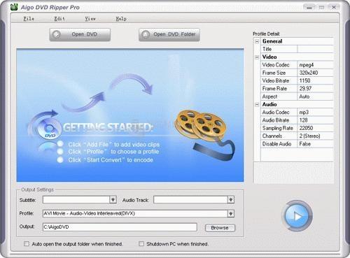Pantallazo Aigo DVD Ripper Pro