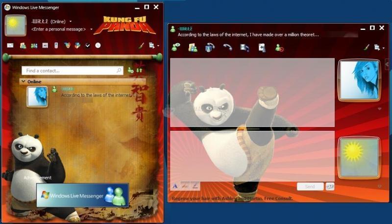 Pantallazo Skin Msn Kung Fu Panda