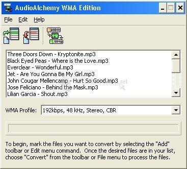 Pantallazo Audio Alchemy WMA Edition