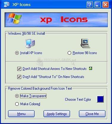 Pantallazo XP Icons