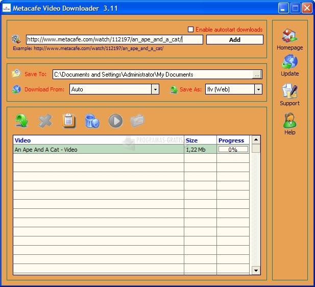 Pantallazo Metacafe Video Downloader