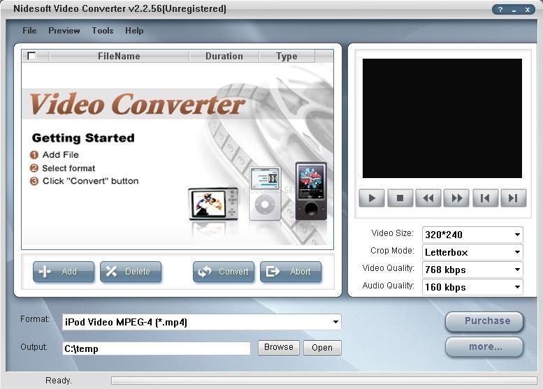 Pantallazo Nidesoft Video Converter
