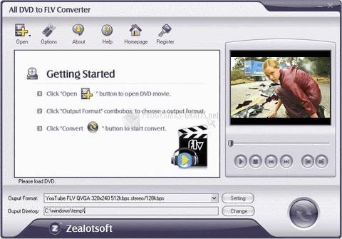 Pantallazo All DVD to FLV Converter