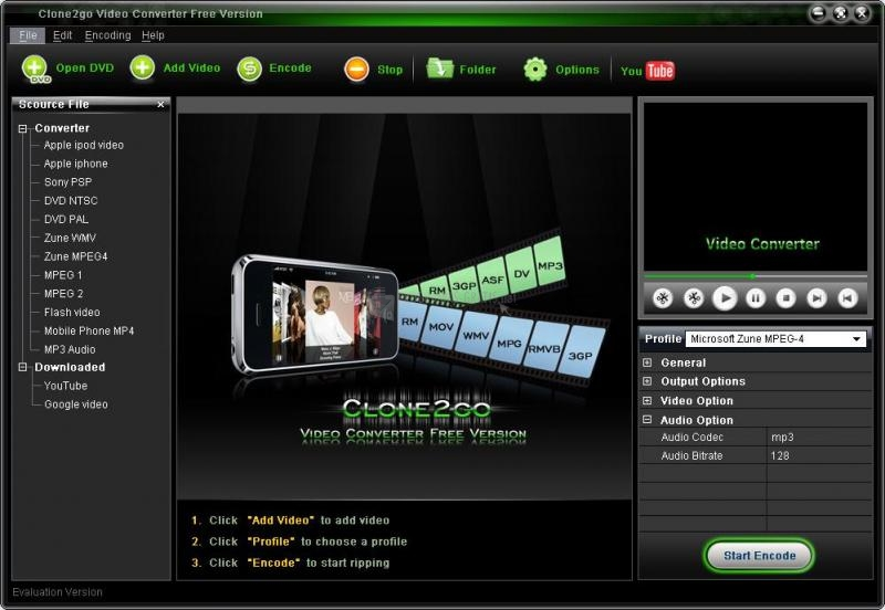 Pantallazo Clone2go Free Video Converter