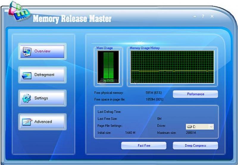 Pantallazo Memory Release Master Free Version
