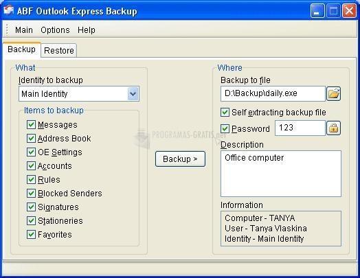 Pantallazo ABF Outlook Express Backup