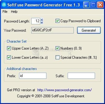 Pantallazo SoftFuse Password Generator Free