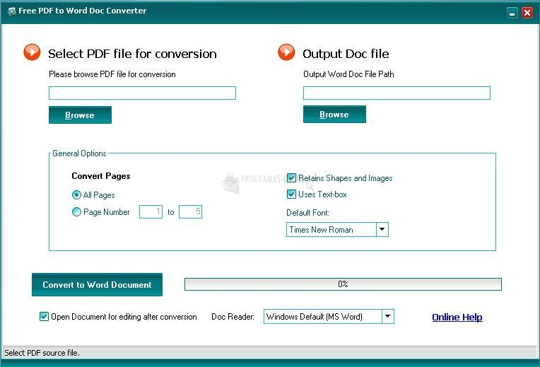 Pantallazo Free PDF to Word Converter