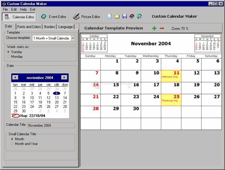 Pantallazo Custom Calendar Maker