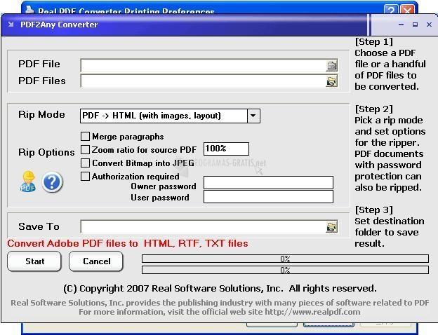 Pantallazo Real PDF Converter