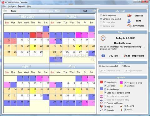 Pantallazo Acio Ovulation Calendar