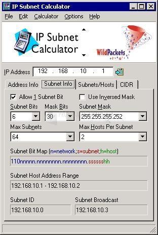 Pantallazo IP Subnet Calculator
