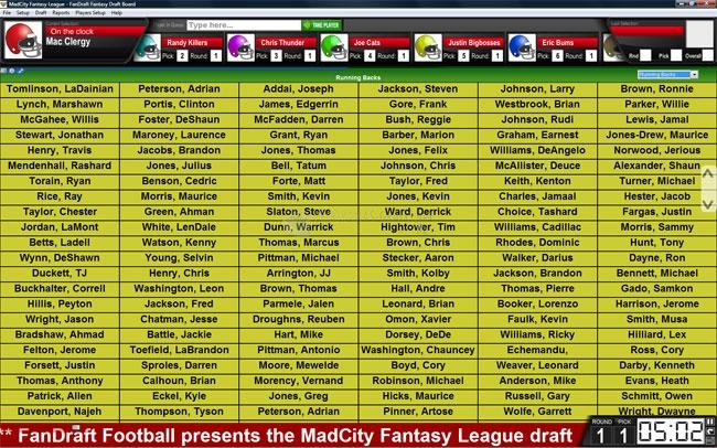 Pantallazo FanDraft Football Draft Board