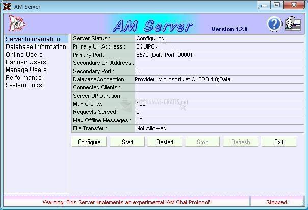 Pantallazo AM Server