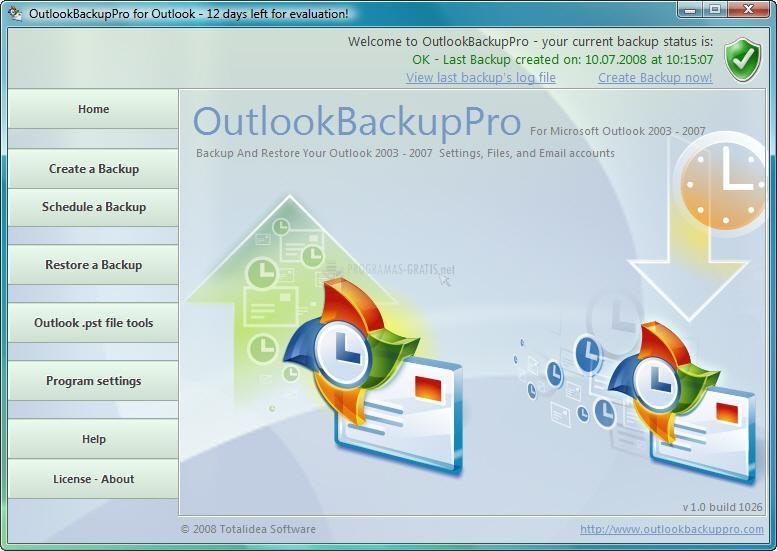Pantallazo Outlook Backup Pro