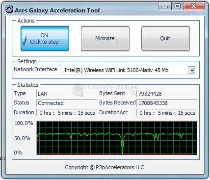 Pantallazo Ares Galaxy Acceleration Tool