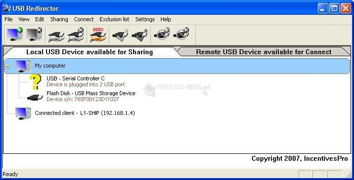 Pantallazo USB Redirector