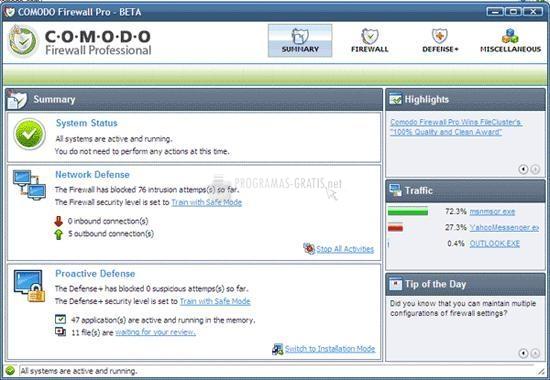 Pantallazo Comodo Firewall Pro