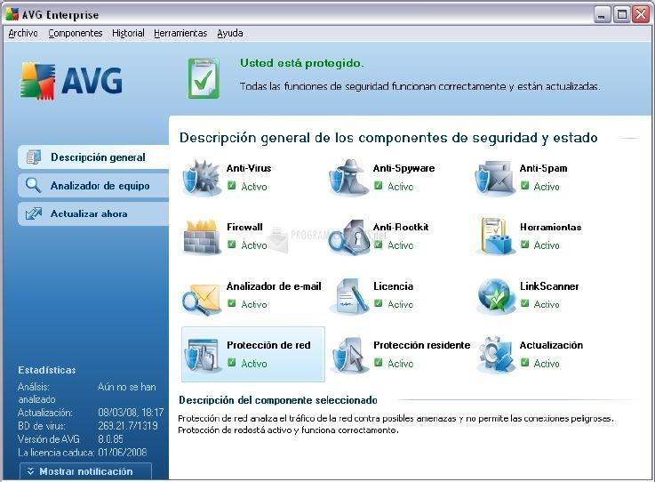 Pantallazo AVG Anti-Virus Plus Firewall