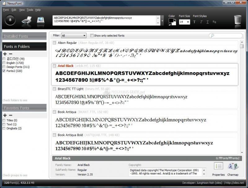 Pantallazo Nexus Font
