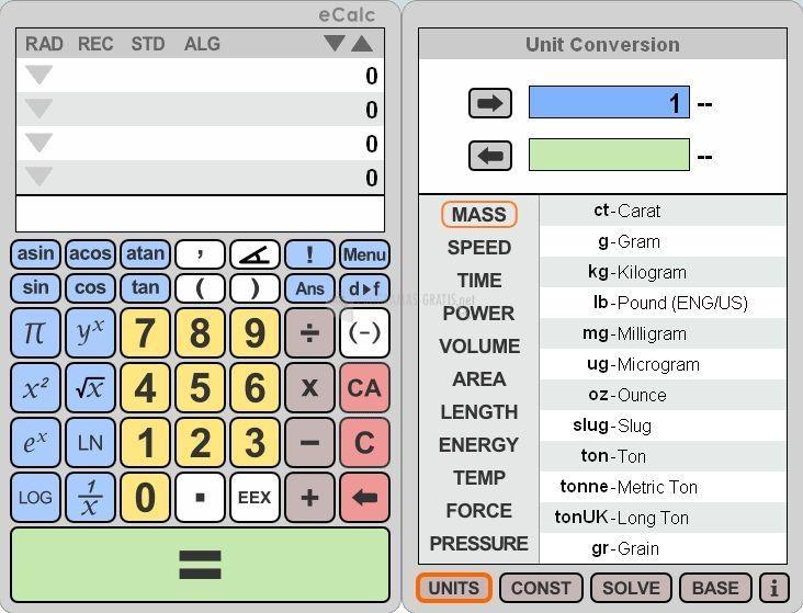 Pantallazo eCalc Calculator