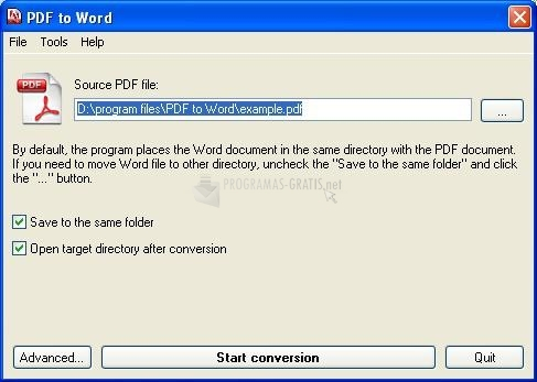 Pantallazo Quick PDF to WORD