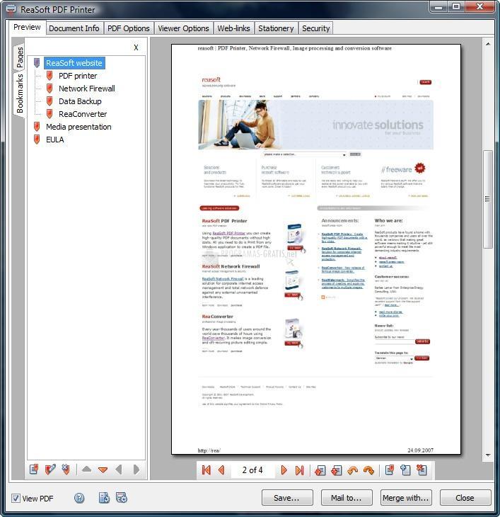 Pantallazo ReaSoft PDF Printer Standard