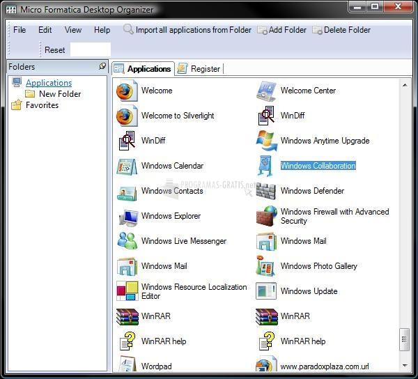 Pantallazo Desktop Organizer