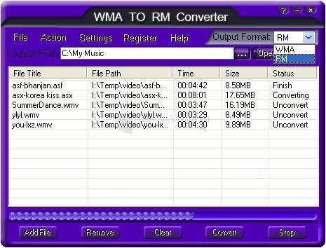 Pantallazo WMA TO RM Converter
