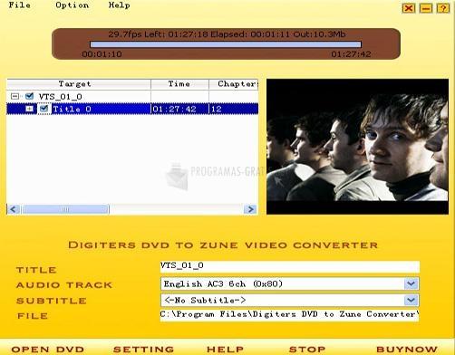 Pantallazo Digiters DVD to Zune Converter