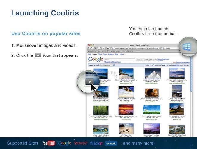 Pantallazo Cooliris For Internet Explorer