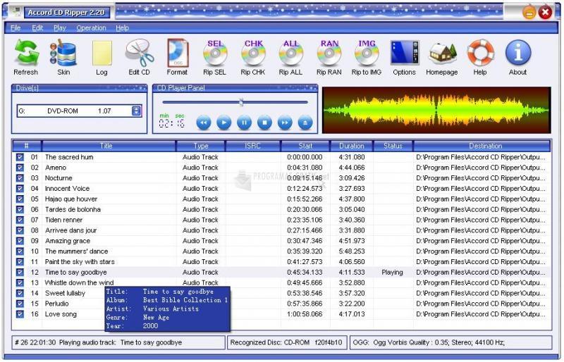 Pantallazo Accord CD Ripper